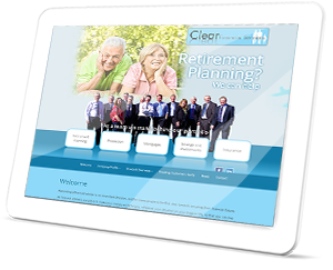 Clear Financial Services Web Site on a Tablet