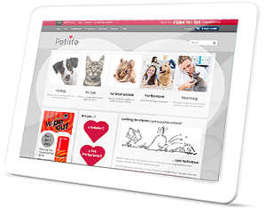 Petlife Web Site on a Tablet